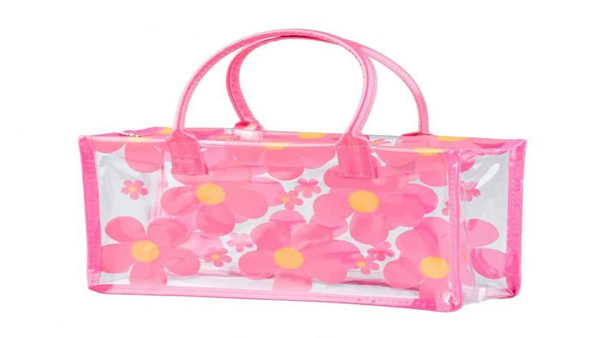 Pink clear bag with flowers