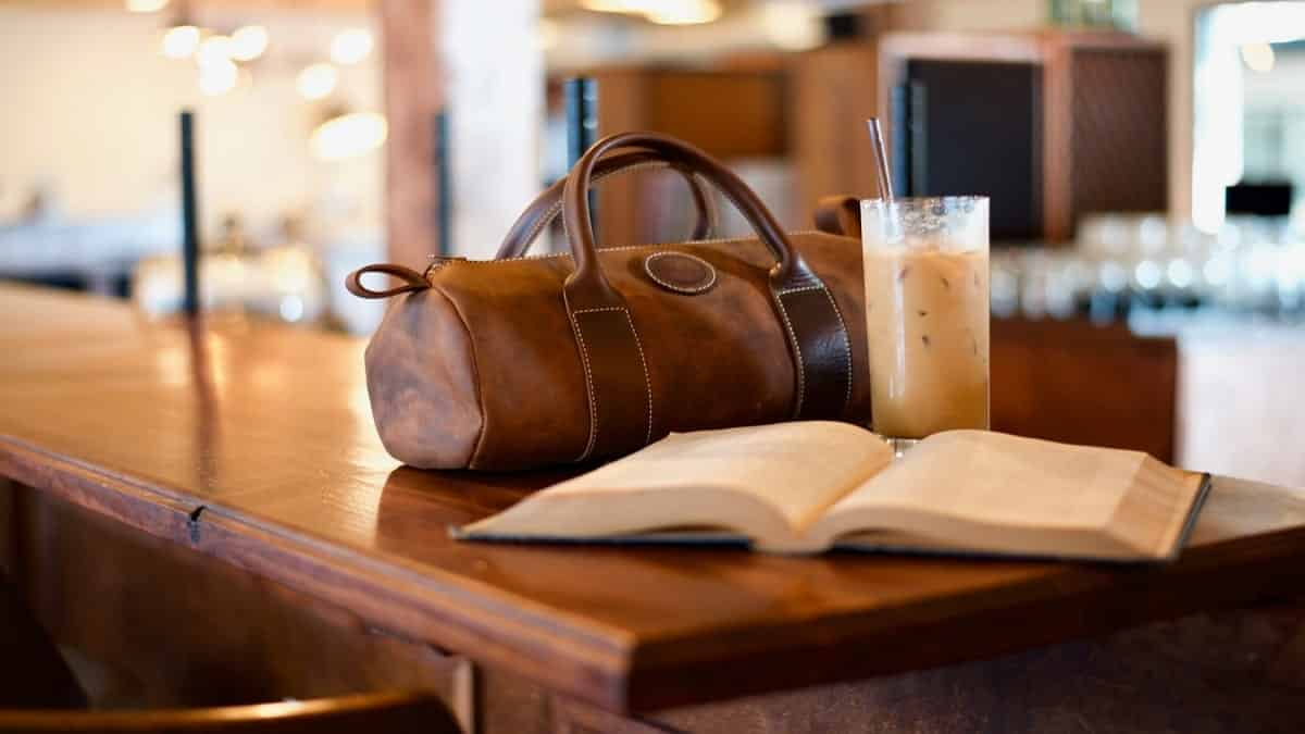 A brown leather bag