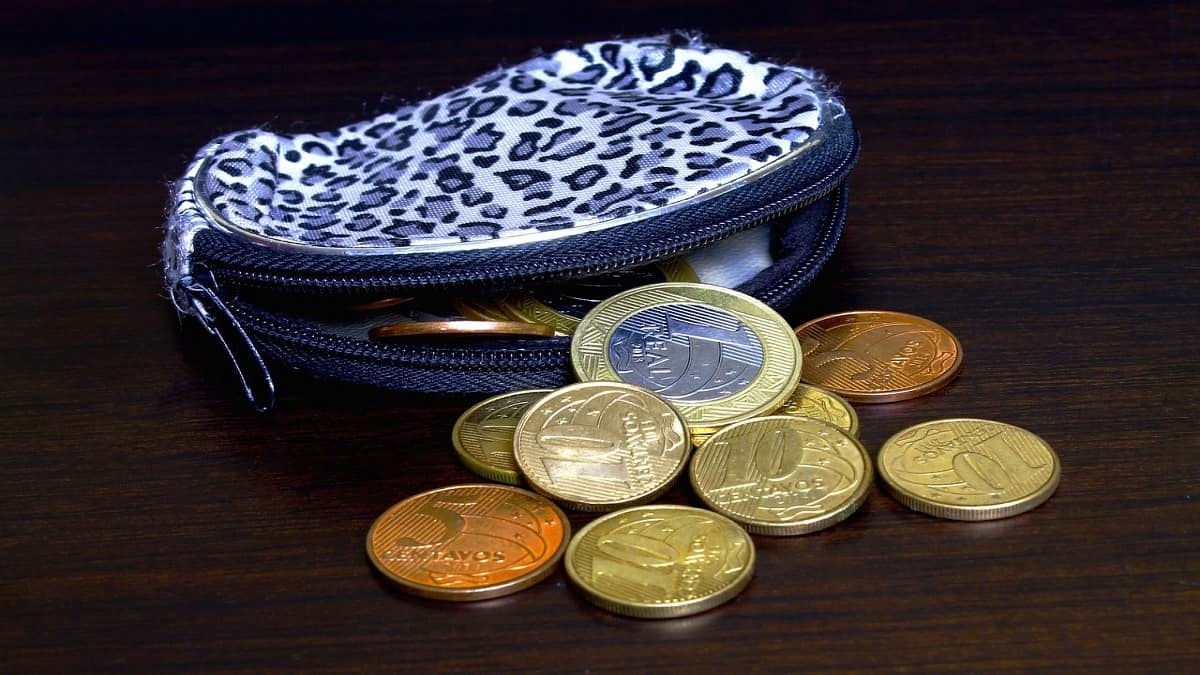 An open coin purse with coins inside it