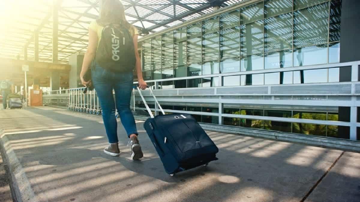 A blue suitcase