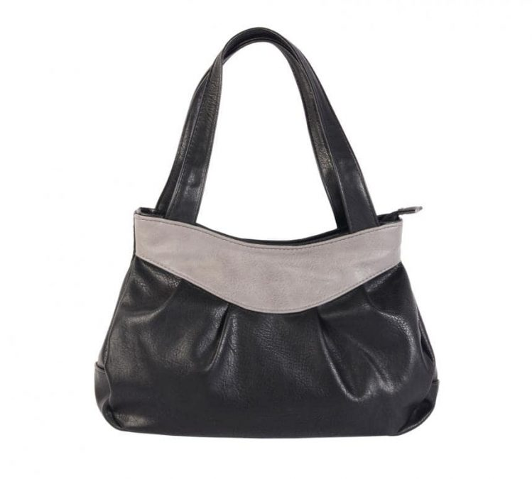 A black colored handbag